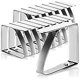 com-four® 16x Tischtuchklammern aus rostfreiem Edelstahl - Tischdeckenbeschwerer - wetterbeständige Tischdeckenhalter (16 Stück - Edelstahl)