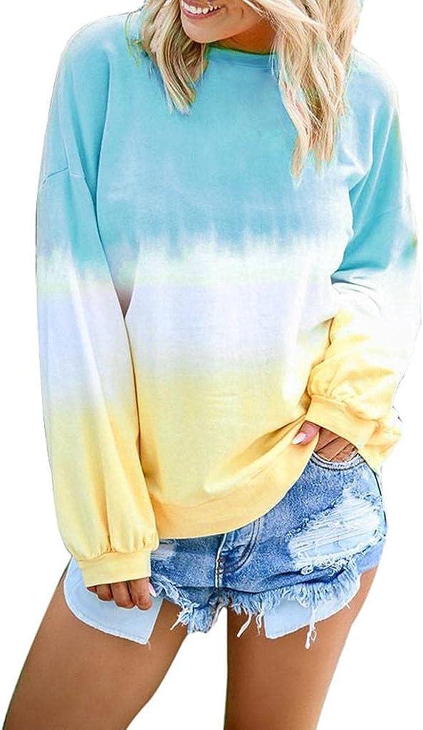 Masbird Fall Clothes for Women, Womens Crewneck Long Sleeve Striped Gradient Fall Sweatshirt Casual Cute Tops Hoodies