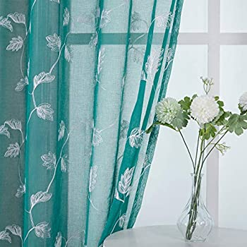 Haperlare Leaf Embroidered Sheer Curtains for Living Room 84 inches Long Teal Sheers Curtain Panels Bedroom Quatrefoil Leaf Embroidery Grommet Window Treatment 52 x 84 Inch 2 Panels