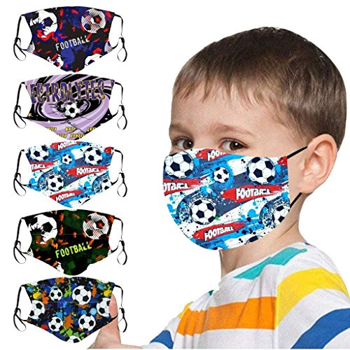 5PC Reusable Face_Mask Football Print for Coronavịrus Protection Child_Masks with Elastic Ear Loops Washable for Haze Dust Personal Protective for Children Boys Girls