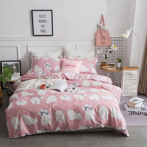 BuLuTu Bedding Polar Bear Print Kids Duvet Cover Set Queen Pink Egyptian Cotton For Girls Reversible Lattice Full Bedding Sets Zipper Closure With Ties,Lightweight,Breathable,Super Soft,NO COMFORTER