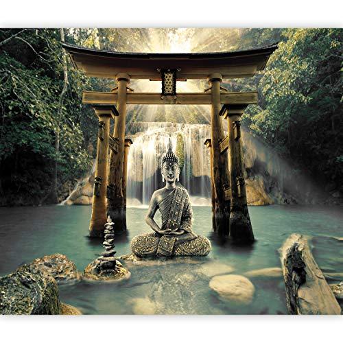 murando Fototapete selbstklebend Buddha 294x210 cm Tapete Wandtapete Klebefolie Dekorfolie Tapetenfolie Wand Dekoration Wandaufkleber Wohnzimmer Wasserfall Natur Orient Zen p-A-0033-a-b