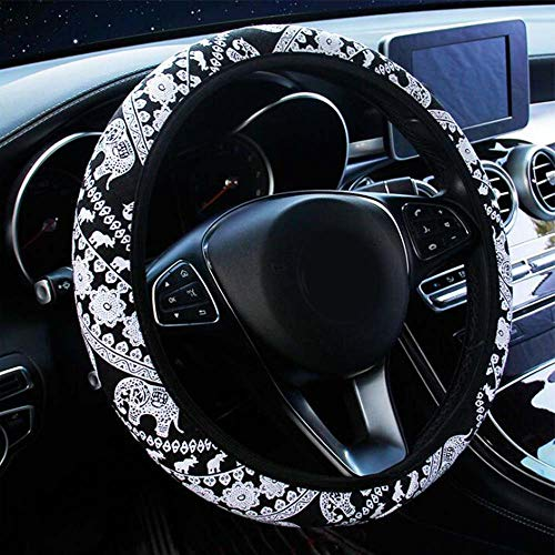 Universal Ethnic Steering Wheel Covers, Cute Elephant Strech on Car Steering Wheel Cover Cloth Accessory for Women and Girls (Black Elephant)