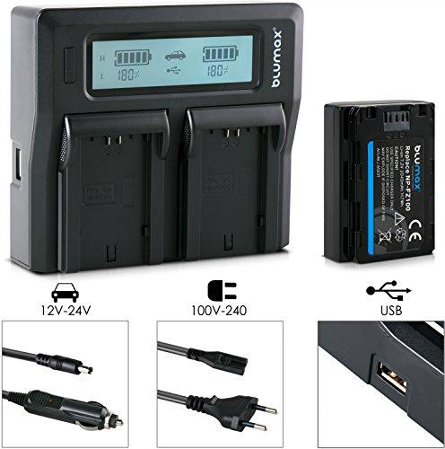 Blumax Akku ersetzt Sony NP-FZ100 2040mAh + Doppel-Ladegerät Dual - passend für Sony Alpha 7RM3, 7M3 / 7 III/Alpha 7R III / 7R IV/Alpha 6600 / Alpha 9 II / A9S - 100% kompatibel