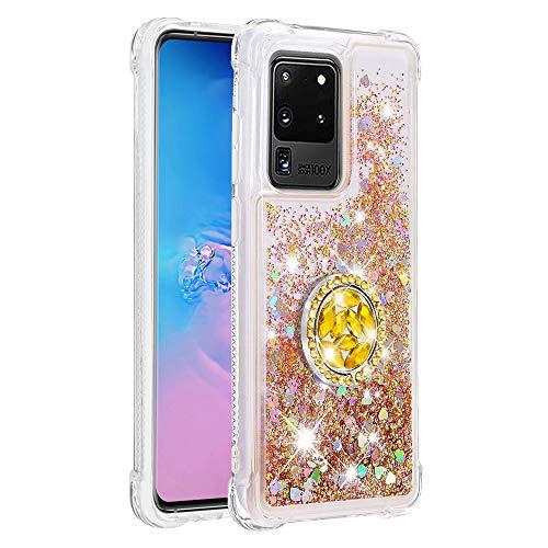 Coque pour Samsung Galaxy S20 Ultra,Brillante Cristal Diamant Anneau Socle de téléphone Liquide Dégradé Transparente Silicone TPU Étui Antichoc Coques(Or)
