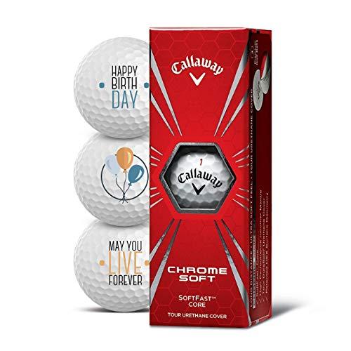 Callaway Golfbälle 3er Pack Motiv Happy Birthday Golf Geschenke für Golfer Geschenkidee (Chrome Soft)