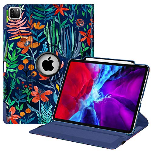 Fintie Rotating Case for iPad Pro 12.9 4th Generation 2020 & 3rd Gen 2018-360 Degree Rotating Smart Stand Cover w/Pencil Holder, Auto Sleep/Wake, Supports 2nd Gen Pencil Charging, Jungle Night