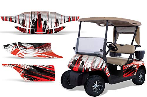 AMR Racing Golf Cart Graphics kit Sticker Decal Compatible with E-Z-GO TXT 1994-2013 - Carbon X Red