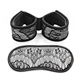 Black Cloth Pattern Eye Mask Handcuffs 2 Piece Set Adult Bedroom Game Stage Props Toys
