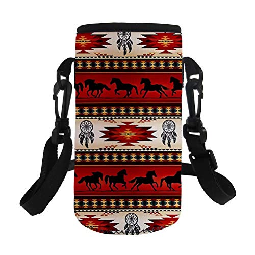 NDISTIN Bright Red Aztec Horse Water Bottle Sleeve Adult Work Office Outfitters Insulated Neoprene Fabric Easy Carry Fit Most Style Fashion with Adjustable Shoulder Strap Kids Student Best Gift