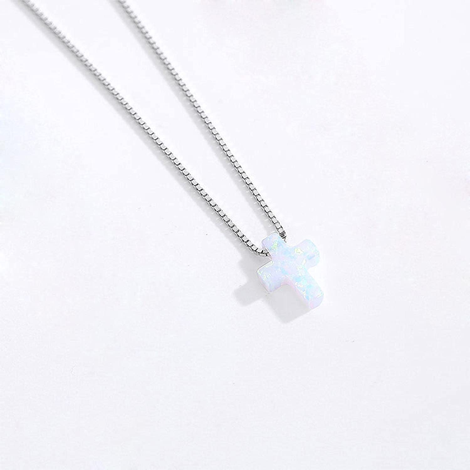 Opal Necklace Silver Translated 925 Some reservation Sterling Chai Cross Blue Woman
