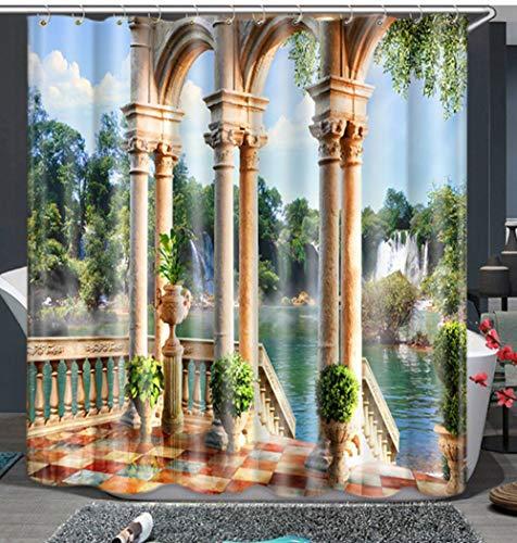 LYzpf Duschvorhang Moderner Wasserdicht Digitaldruck Badzubehör aus Polyestergewebe Mode Hübsche Badezimmervorhänge für die Innendekoration Fensterbehandlung,Water,180cm×180cm