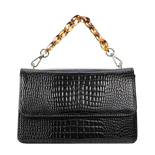 Becksöndergaard Bright Maya Bag 2001412016-P - Bolso de mano para mujer, diseño de cocodrilo, color Negro, talla Breite: 22 cm, Höhe: 13 cm, Tiefe: 7 cm