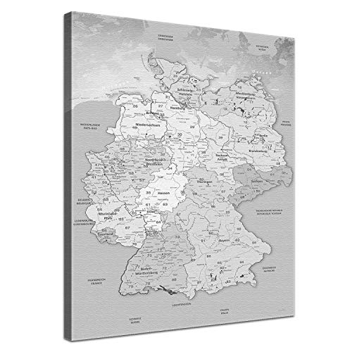 LanaKK - Leinwandbild Deutschlandkarte Hellgrau Karte von Deutschland - deutsch - Kunstdruck-Pinnwand auf Echtholz-Keilrahmen – Globus in braun, einteilig & fertig gerahmt in 40 x 60 cm