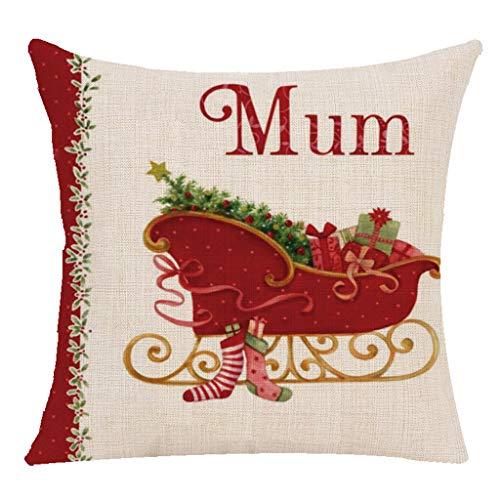 YUANYONG - Funda de almohada (sin relleno, calcetines navideños, campanas,...