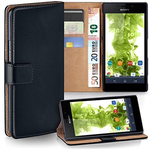 MoEx Premium Book-Case Handytasche kompatibel mit Sony Xperia M4 Aqua | Handyhülle mit Kartenfach und Ständer - 360 Grad Schutz Handy Tasche, Schwarz