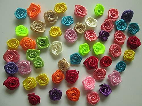 Roshanara 500 Satin Blumen gemischte Farbe Applikation Aufnäher Flowers Deko Nähen Hochzeit 9mm