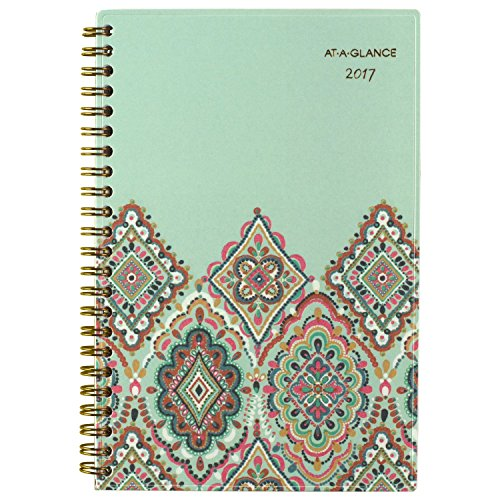 """AT-A-GLANCE Weekly / Monthly Planner / Appointment Book 2017, 4-3/4 x 8"""", Marrakesh, Light Green (182-200)"""
