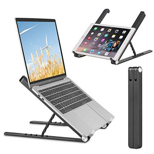 NUOMIC Laptopständer Klappbar, Tragbarer Notebook Ständer, 5-Stufiger Laptopständer Höhenverstellbar für MacBook/IPad/Tablet/Laptop&9.7-17 Zoll (Schwarz)