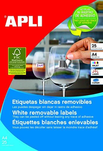 APLI 10197 - Etiquetas blancas removibles 17,8 x 10,0 mm 25 hojas