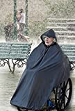 AdirMed Wheelchair Waterproof Poncho With Hood - Rain Protection Cape - Water & Tear Resistant Polyester Cover - Over Knee Coverage - Secure Neck Closure - One Size For Men & Women - Black