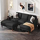 Belffin Convertible Sectional Sofa Couch with Ottoman Reversible L Shaped Sofa Couch Set in Fabric Dark Grey