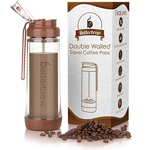 Betterbrew Travel French Press Coffee Maker | Portable Insulated Coffee Press with Plunger for Travel, Commuting and Outdoors | Borosilicate Glass Cup for Proper Coffee To Go! (15 oz)