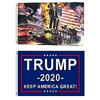 JOCHA 2 Pieces Donald Trump for President 2020 Flag Keep America Great Flag (Tank) [並行輸入品]
