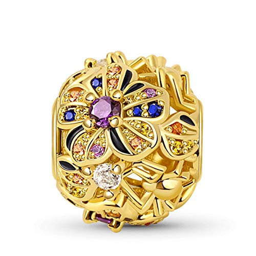 GNOCE Spider with Flower Charm Bead Sterling Silver 18k Gold Plated Hollow Charm inlaid with Multicolour Stones Fit Bracelet/Necklace For Women Girls Wife Daughter