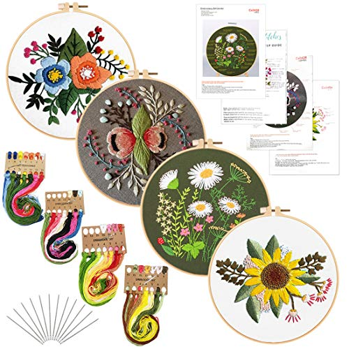 Louise Maelys 4Pack Embroidery Starters Kit with Pattern for Beginners Adults, Full Range of Stamped Cross Stitch Kit Set with Embroidery Hoop Cloth Thread Needlepoint Kit Floral Series