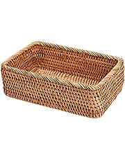 jeerbly Ręcznie robiony prostokątny pleciony rattanowy wiklina kosz na owoce tacka chleb ręcznie robiony futerał prosty przenośny piknik pudełko do przechowywania dom kuchnia artykuły dekoracyjne artykuły