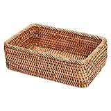 Cesta de mimbre de ratán rectangular hecha a mano con burla, cesta de frutas, bandeja de pan