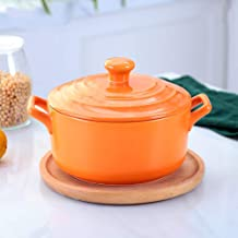 Kitchen Stoneware Casserole Dish with Lid Round Ceramic Casserole,Heat- Earthen Pot Clay Pot Soup Pot with Lid and Handle ...