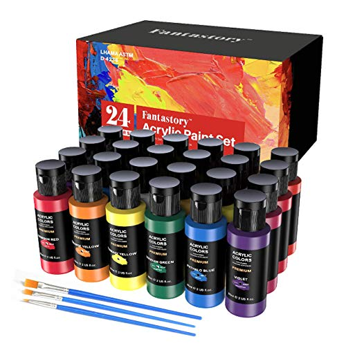Craft Acrylic Paint, Set of 24 Colors(2 oz/Bottle), Water-Based, Non Toxic, Non Fading, Waterproof, Acrylic Paint Kit for Artwork & DIY Projects on Canvas, Wood, Glass, Clay, Fabric, Ceramic, Paper