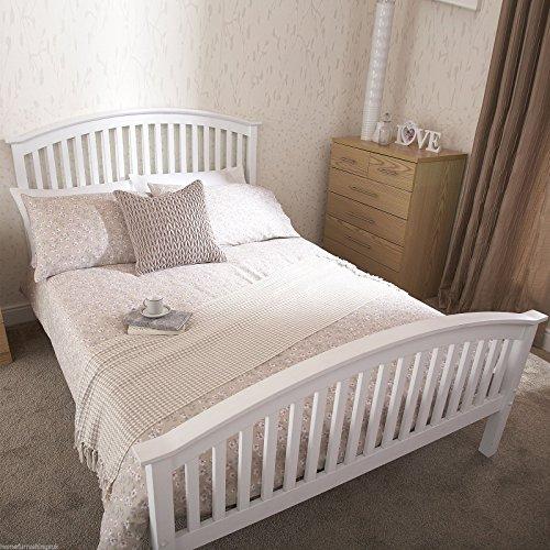 HF4YOU Madrid High Footend Bedstead–1000Pocket memory materasso, Legno, White, matrimoniale 140 cm