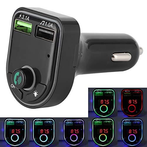 dgtrhted Car Bluetooth 5.0 Reciever, Reproductor de MP3, Manos Libres, Llamadas, Dos Tomas USB, 3.1A, Carga rápida, Colorida, luz Ambiental, LED, 12V 24V, camión Universal