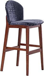 Barstool Kitchen Breakfast Chair Dining Chair Wooden Retro Style Bar Stool High Stool Front Desk Chair Sitting Height 75cm Blue (Color : #2)