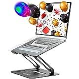 Urmust verstellbarer Laptopständer für den Schreibtisch, Aluminium-Computerständer für Notebookständer, kompatibel mit MacBook Air Pro Ultrabook Alle Laptops 27,9-43,2 cm (11-17 Zoll) (schwarz)
