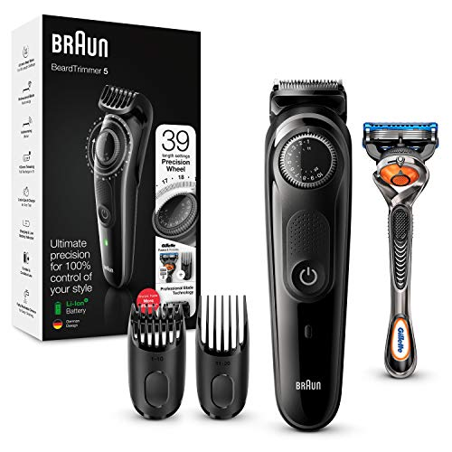 Braun BT5242 Barttrimmer und Haarschneider für Herren, 39Längeneinstellungen, schwarz/grau