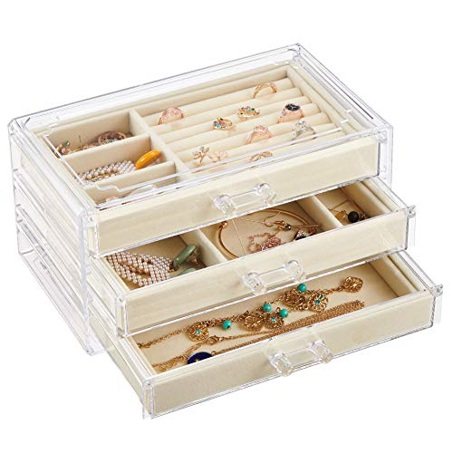 Watpot Acrylic Jewelry Box Organizer Clear 3 Drawer Beige Velvet Jewelry Storage for Earrings Rings Necklaces Bracelets Display Case