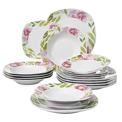 Veweet ASHLEY 18pcs Assiettes Pocelaine Service de Table 6pcs Assiettes Plates 24,7cm, 6pcs Assiette Creuse 21,5cm, 6pcs Assiette à Dessert 19cm Vaisselles pour 6 Personnes Fleuri Cadeau Fête