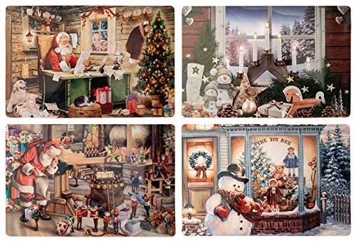 Diverse 4 unterschiedliche Weihnachten Platzdeckchen Platzset Platzmatte Tischset Nostalgie Retro 4 er