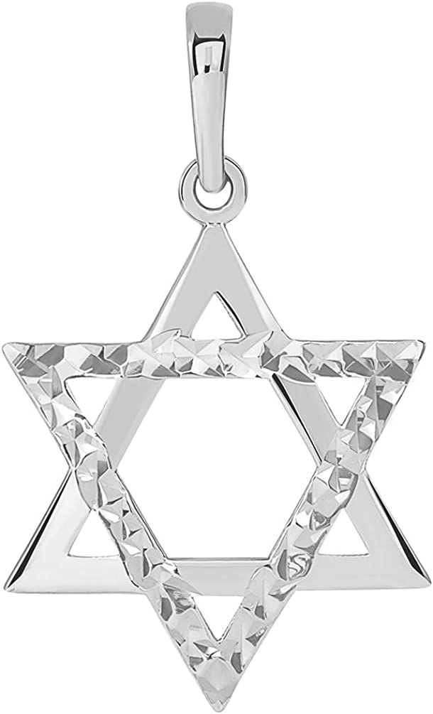 14k White Gold High Polished and Sparkle Cut Hebrew Star of David Pendant (25 x 15mm)