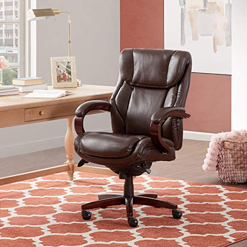 La Z Boy (Brown) Bellamy Executive Bonded Leather Office Chair-Coffee