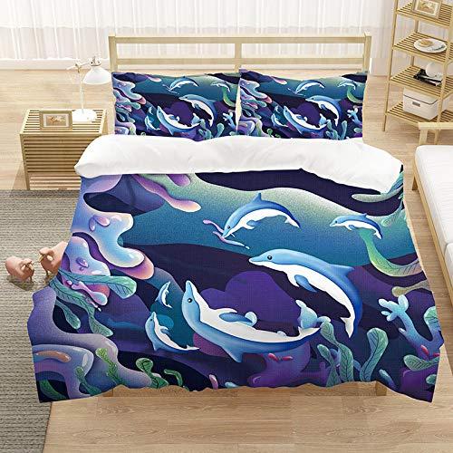 Bedclothes-Blanket Juego de sabanas Cama 150,Sueño de los niños Dream Pintado Imprimir Digital Ropa de Cama de Tres Piezas-4_172 * 218cm (Tres Piezas)