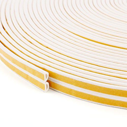 50M Extra Lang Fensterdichtung Selbstklebend Wiederverwendbar Dichtband Weiß 10mmx6mm   D – PROFIL   Türdichtung Gummidichtung Fensterdichtband Tür Fenster Dichtung Dichtungsband (50m)