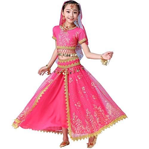 Maguun Girl Gypsy Performance Skirt Set de 5 Piezas Traje de Bailarina del Vientre Traje de Halloween para niños
