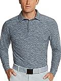Men's Dry Fit Long Sleeve Golf Shirt - Quick Dry Polo Shirts - UPF 30, Stretch Fabric Blue
