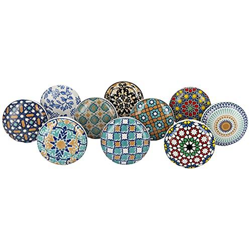 G Decor - Pomos de cerámica para puertas, muebles y cajones, colección Positive Energy VI, estilo vintage shabby chic (juego de 10)