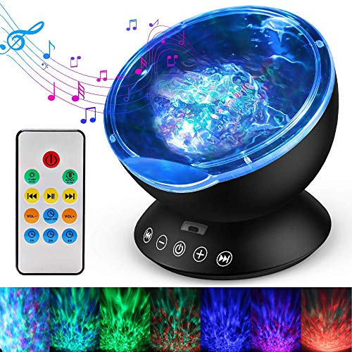 Ocean Wave Projector, Remote Control Night Light Lamp 12 LEDs & 7 Color Changing Modes LED Night Light Projector Lamp Built-in Mini Music Player for Baby Kids Adult Bedroom Living Room (Black)